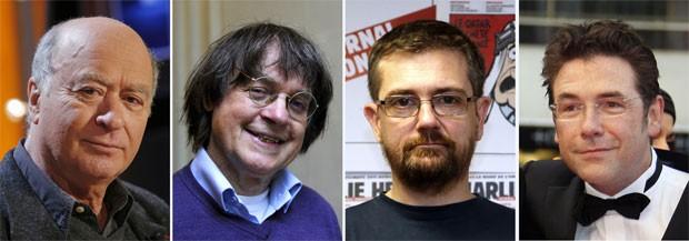 Fotos de arquivo mostram cartunistas da equipe da revista 'Charlie Hebdo' mortos no ataque. Da esquerda para a direita: Georges Wolinski (em 2006), Jean Cabut - o Cabu (em 2012), Stephane Charbonnier - o Charb (em 2012) e Tignous (em 2008) (Foto: Bertrand Guay, François Guillot, Guillaume Baptiste/AFP)