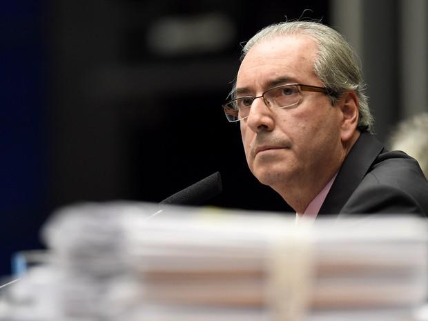 O presidente da Câmara, deputado Eduardo Cunha (PMDB-RJ), durante sessão no plenário, em Brasília (Foto: Evaristo Sa/AFP)