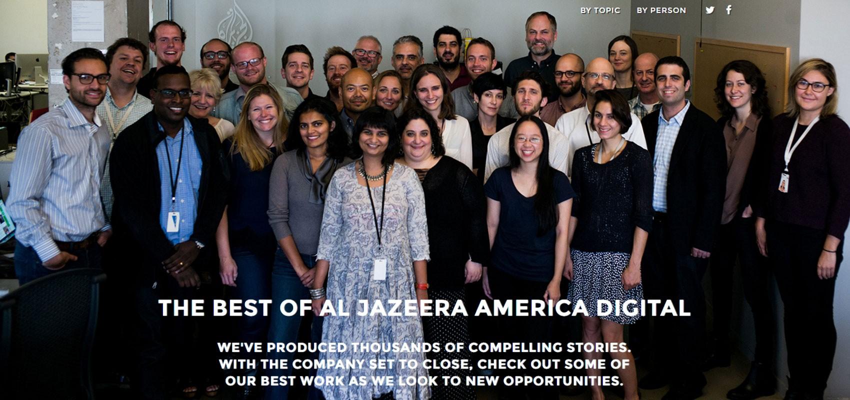 Site da emissora que está prestes a fechar tem foto da equipe e relembra os melhores trabalhos dos profissionais, lembrando que eles agora estão à procura e recolocação' (Foto: Al Jazeera America)