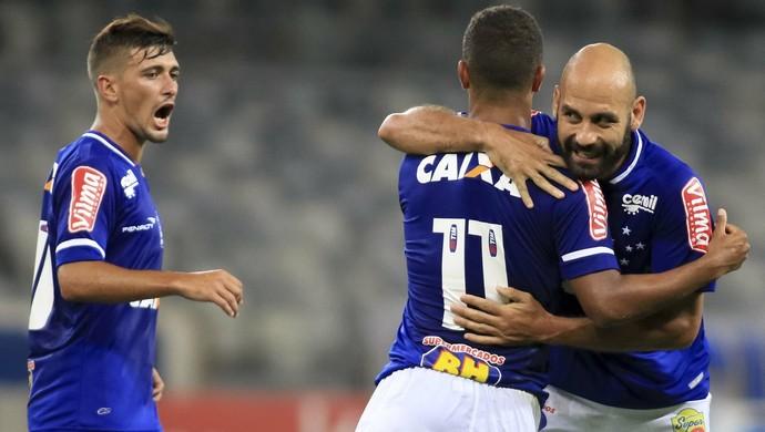 Bruno Rodrigo comemora gol do Cruzeiro contra o Uberlândia (Foto: Daniel Teobaldo/Agência Estado)