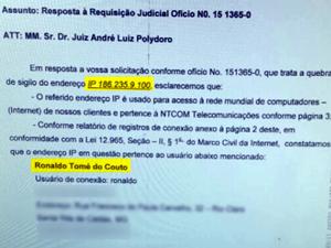 Laudo aponta que página foi criada a partir de conexão da casa do prefeito de Santa Rita de Caldas (Foto: Reprodução EPTV)