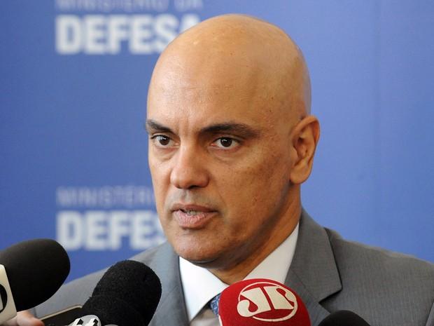 Ministro da Justiça, Alexandre de Moraes, em entrevista coletiva no Ministério da Defesa no Comando Militar do Planalto (Foto: Isaac Amorim/MJC)