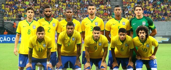 Brasil sub-23 que jogou amistoso contra o Haiti em Manaus (Foto: Edmar Barros/Agência Estado)