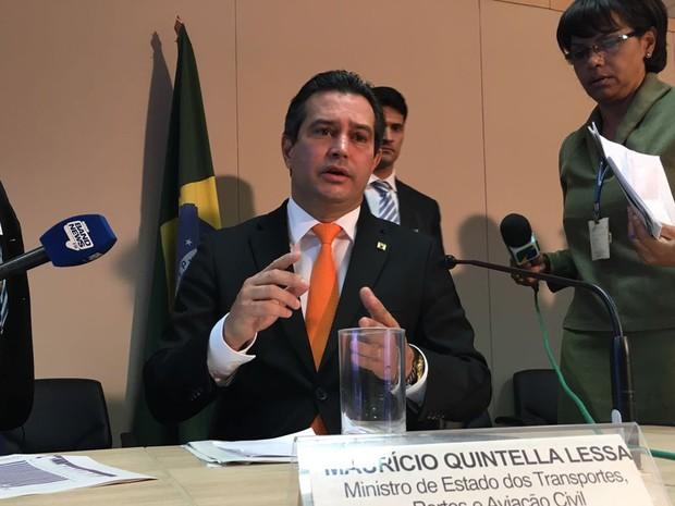 Ministro Mauricio Quintella durante entrevista em Brasília (Foto: Gabriel Luiz/G1)
