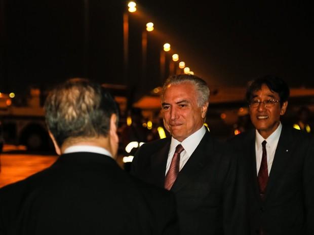 O presidente Michel Temer, ao chegar ao Japão para uma viagem de três dias (Foto: Beto Barata/PR)