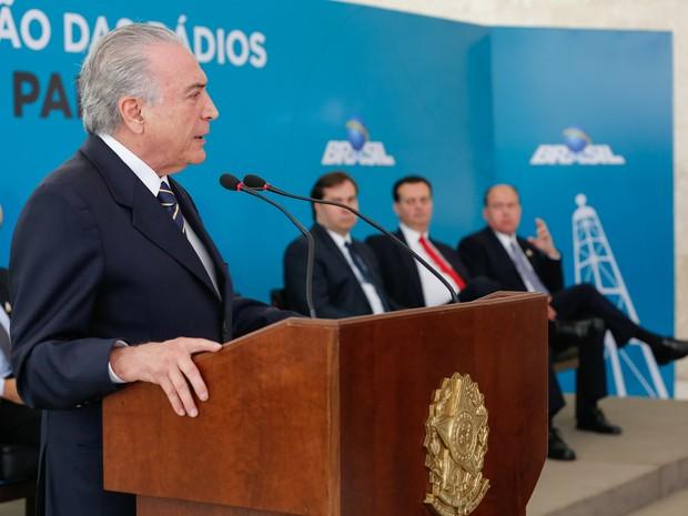 Presidente Michel Temer discursa durante Cerimônia de Migração das Rádios AM para FM. (Foto: Marcos Corrêa/PR)