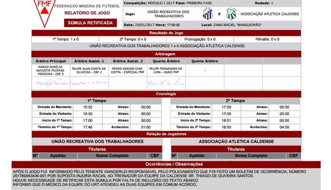 Montagem mostra relato do árbitro sobre injúria racial contra treinador da Caldense (Foto: Montagem/GloboEsporte.com)