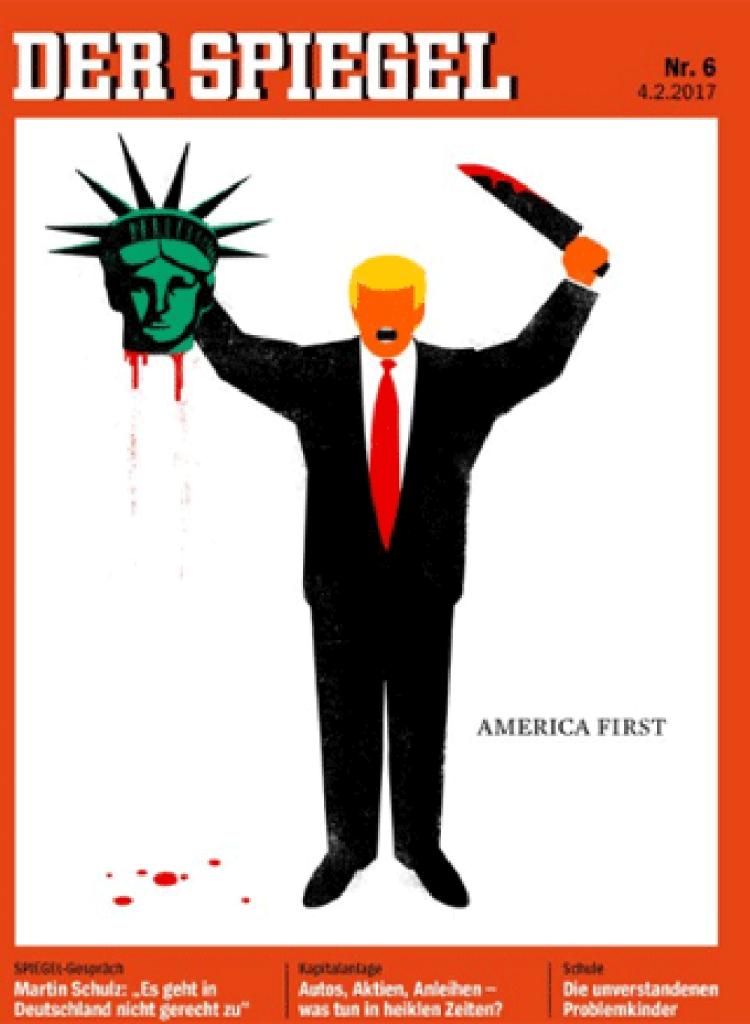 Revista alemã publica capa que mostra Trump 'decapitando' Estátua da Liberdade (Foto: Reprodução)