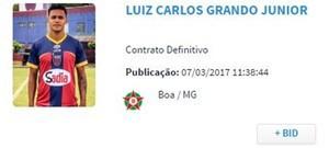 Luiz Grando foi registrado pelo Boa Esporte (Foto: Reprodução site Confederação Brasileira de Futebol (CBF))