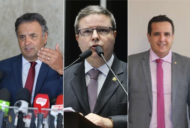 Aécio Neves (PSDB-MG) e Antonio Anastasia (PSDB-MG) e o deputado federal Dimas Fabiano Toledo (PP-MG).