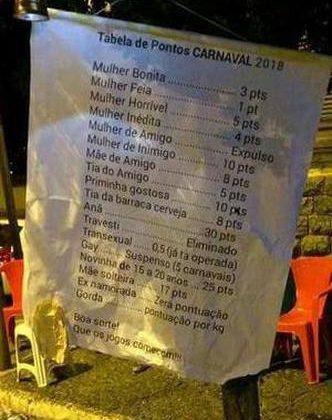 Ranking da 'pegação' no carnaval causa revolta em Bom Sucesso